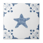 "Delft Starfish Tile with Scroll Corners<br><div class=""desc"">Blue and white tile reproduced on a smooth surface 4.25&quot; or 6&quot; ceramic tile. Perfect for interior tile wall accents, backsplashes, fireplace surrounds, bathroom and showers walls, kitchens and craft projects. Not intended for outdoor use. Our tiles are copies of costly authentic original antique tiles. Suggestion: Order one tile to...</div>"