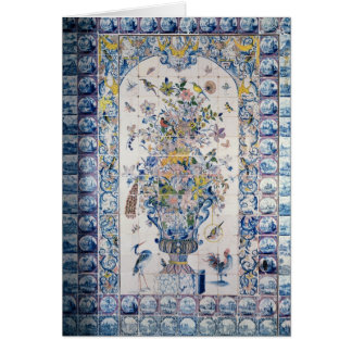 Delft tile panel from the bathroom greeting card