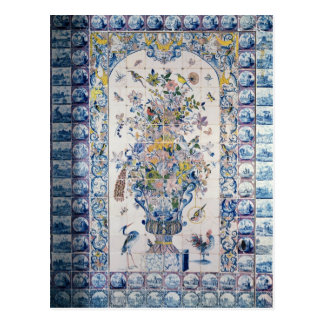 Delft tile panel from the bathroom postcard