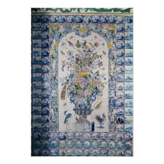 Delft tile panel from the bathroom poster
