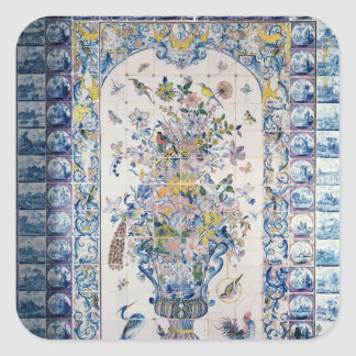 Delft tile panel from the bathroom square sticker