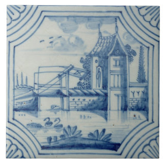 Delft tile showing a drawbridge over a canal, 19th