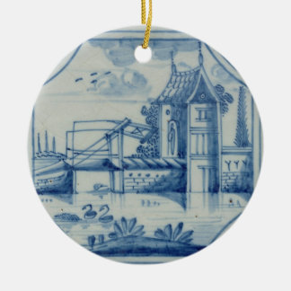 Delft tile showing a drawbridge over a canal, 19th ceramic ornament