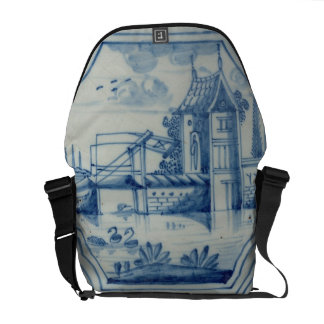 Delft tile showing a drawbridge over a canal, 19th courier bag