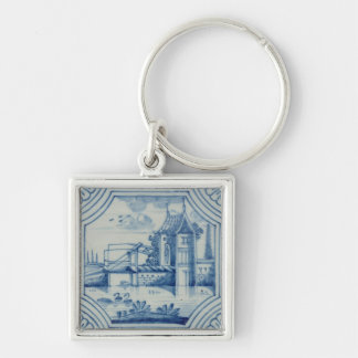 Delft tile showing a drawbridge over a canal, 19th keychain