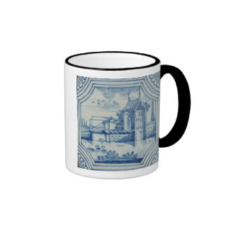 Delft tile showing a drawbridge over a canal, 19th ringer coffee mug