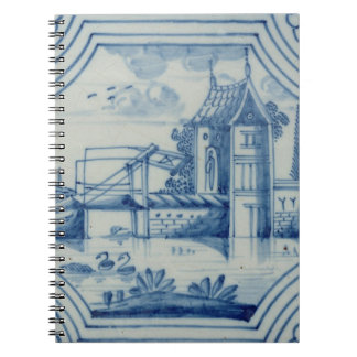 Delft tile showing a drawbridge over a canal, 19th notebooks