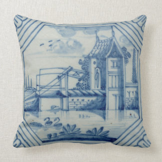 Delft tile showing a drawbridge over a canal, 19th throw pillows