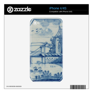 Delft tile showing a drawbridge over a canal, 19th skin for the iPhone 4