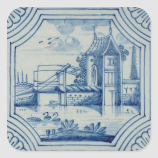 Delft tile showing a drawbridge over a canal, 19th sticker