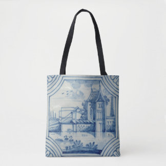 Delft tile showing a drawbridge over a canal, 19th tote bag