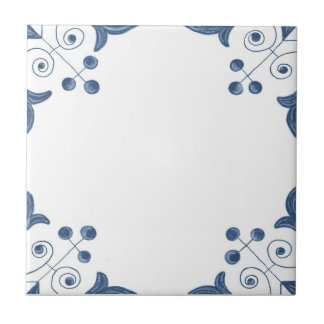 Delft Tile with Scroll Corners