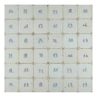 Delft Tiles Allover Print Panel Wall Art