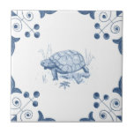 """Delft Tortoise Tile with Scroll Corners<br><div class=""""desc"""">Blue and white tile reproduced on a smooth surface 4.25&quot; or 6&quot; ceramic tile. Perfect for interior tile wall accents, backsplashes, fireplace surrounds, bathroom and showers walls, kitchens and craft projects. Not intended for outdoor use. Our tiles are copies of costly authentic original antique tiles. Suggestion: Order one tile to...</div>"""