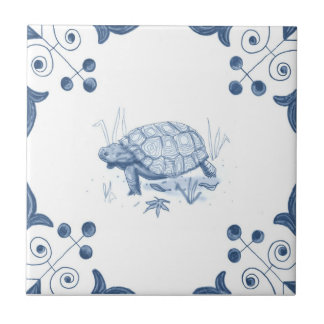 Delft Tortoise Tile with Scroll Corners