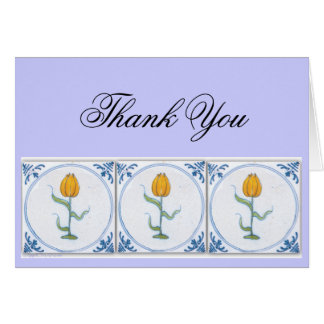 Delft Tulip Tile Art Thank You Card