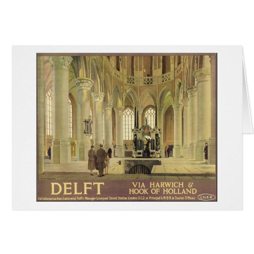 Delft Via Harwich& Hook of Holland Greeting Card