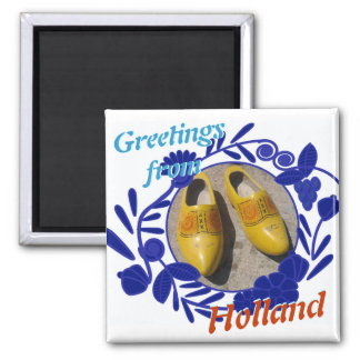 Delftware Pattern and Clogs Greetings from Holland 2 Inch Square Magnet