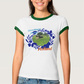 Delftware Pattern Cow Greetings from Holland T-Shirt