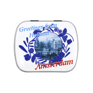 Delftware Pattern Greetings from Holland Amsterdam Jelly Belly Candy Tins