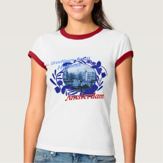 Delftware Pattern Greetings from Holland Amsterdam T-Shirt