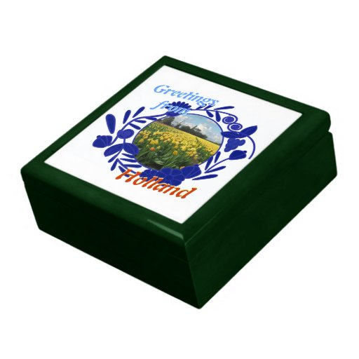 Delftware Pattern Tulips Greetings from Holland Jewelry Boxes