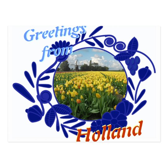 Delftware pattern tulips greetings from holland postcard zazzle delftware pattern tulips greetings from holland postcard m4hsunfo