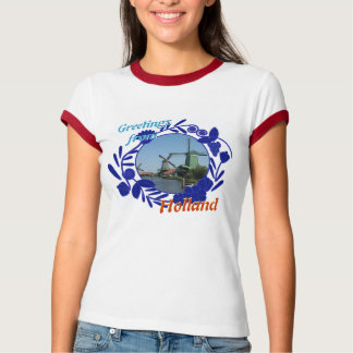 Delftware Pattern Windmills Greetings from Holland T-Shirt