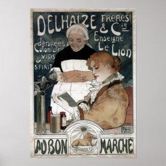 Delhaize Freres & Cie Biscuits Vins & Spirit 1900 Poster
