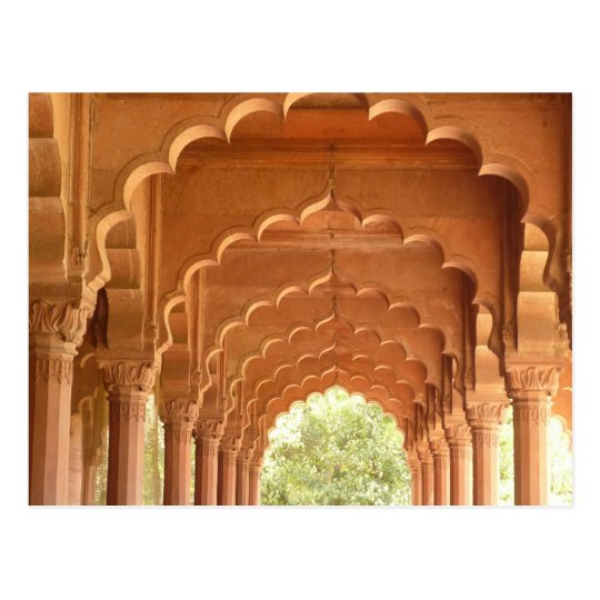 delhi fort red arches postcard