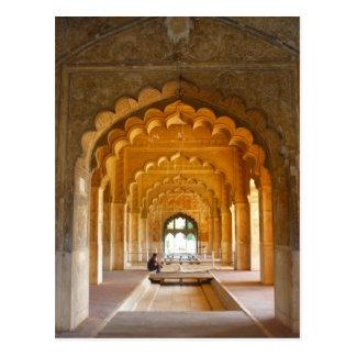 delhi fort red archways up postcard