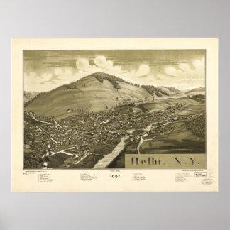 Delhi New York 1887 Antique Panoramic Map Poster