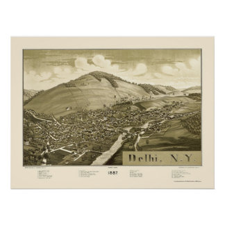 Delhi, NY Panoramic Map - 1887 Poster