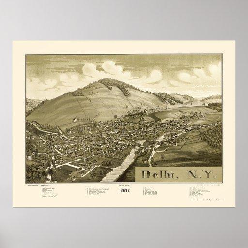 Delhi, NY Panoramic Map - 1887 Poster