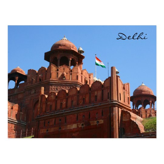 delhi red fort postcard