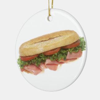 Deli Sandwich Double-Sided Ceramic Round Christmas Ornament