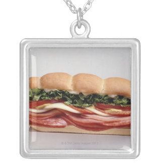 Deli sandwich silver plated necklace