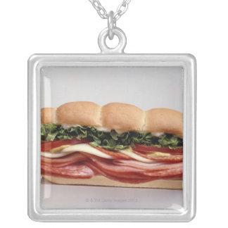 Deli sandwich square pendant necklace