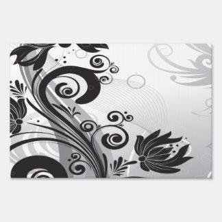 Delicadeza floral negra y blanca letreros