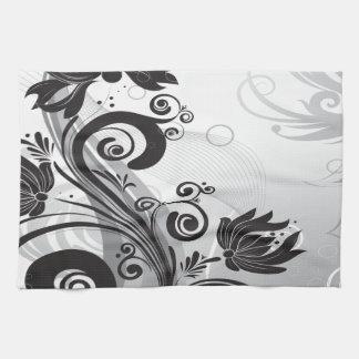 Delicadeza floral negra y blanca toallas de cocina