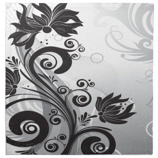 Delicadeza floral negra y blanca servilleta imprimida