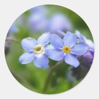 Delicado olvídeme no las flores pegatina redonda