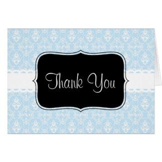 Delicate Aqua Damask Pattern Greeting Cards