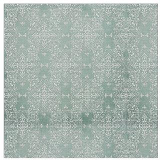 Delicate Aqua & White Lace Pattern Fabric Material