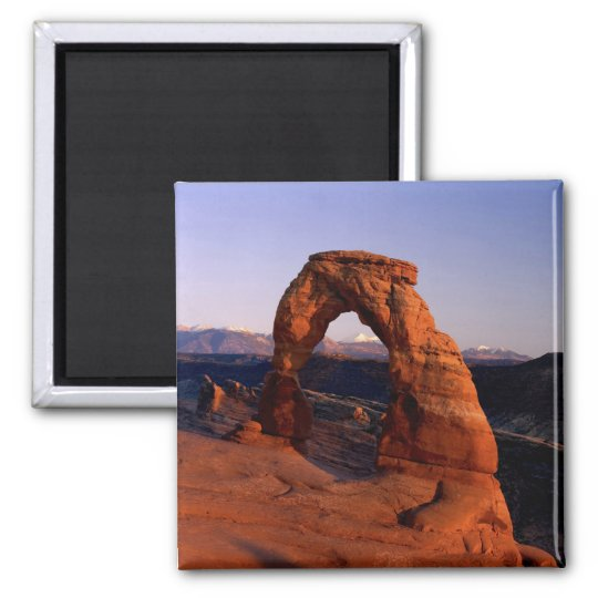 Delicate Arch at Sunset with snow covered La 2 Inch Square Magnet