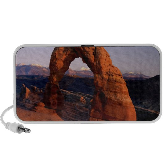 Delicate Arch at Sunset with snow covered La Portable Speaker