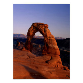 Delicate Arch at Sunset with snow covered La Poster