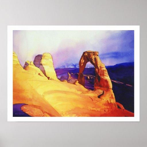 """""""Delicate Arch"""" Desert Scene Watercolor Poster"""