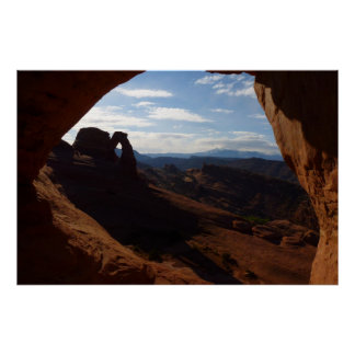 Delicate Arch through Rock Window at Arches Poster