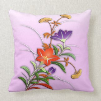Delicate autumn flowers throw pillow